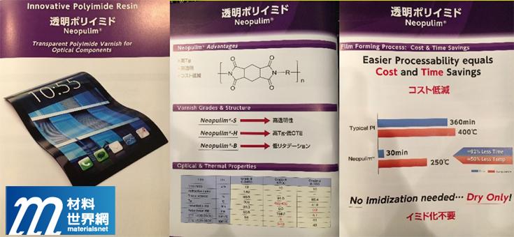 圖六、三菱瓦斯化學透明PI產品