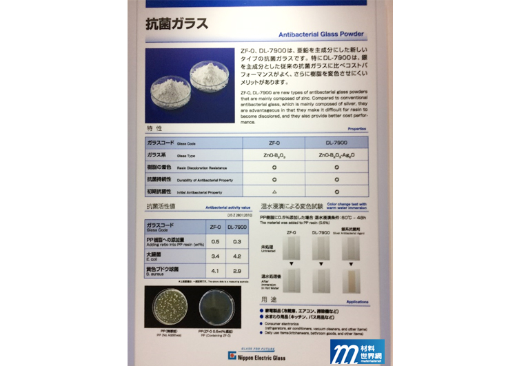 圖七、日本電氣硝子的抗菌玻璃粉