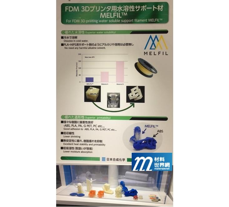 圖九、日本合成化學展示可水溶解之3D列印支撐材及應用例