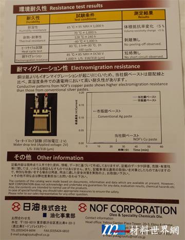 圖十四、日油公司之銅膠環測特性及Anti-migration特性