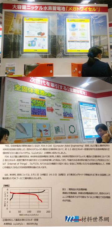 圖八、FDK展出之大容量鎳氫蓄電池與全固體鋰電池技術