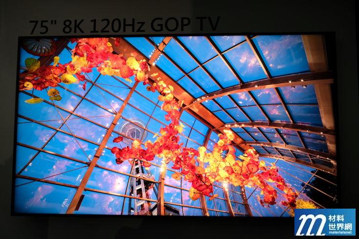 圖三、群創75吋8K 120 Hz GOP TV