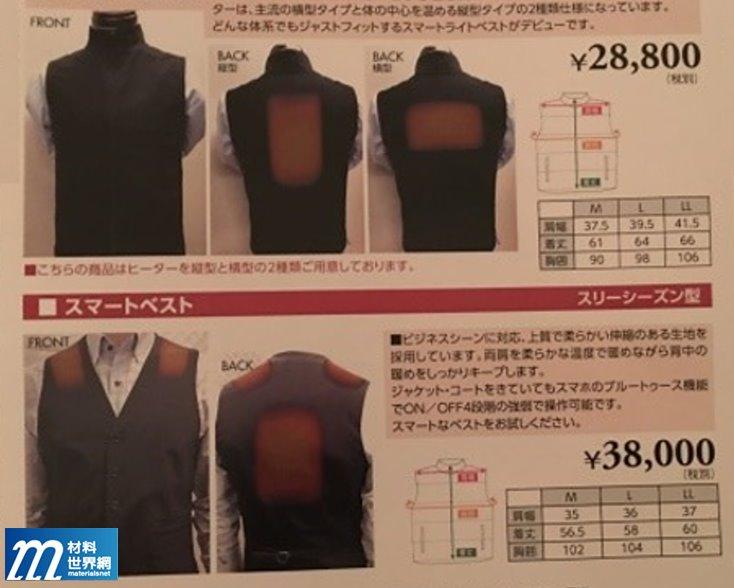 圖十六、三機公司發表的加熱衣說明
