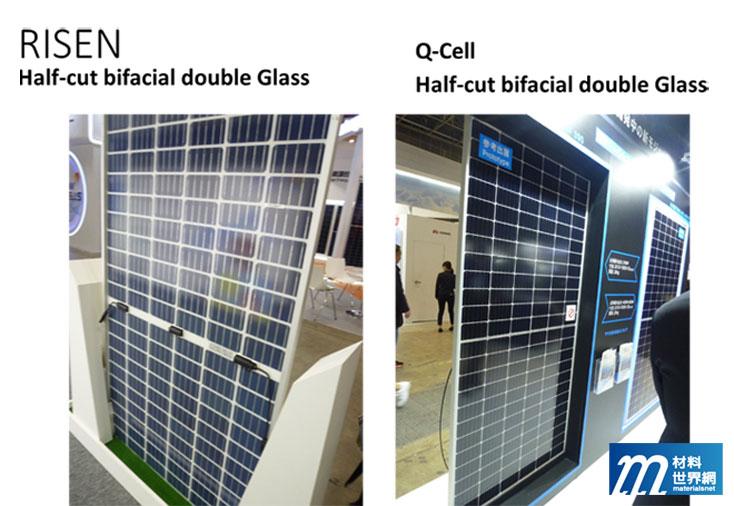 圖七、RISEN & Q-CELL開發的Half cut+Bifacial的電池模組外觀