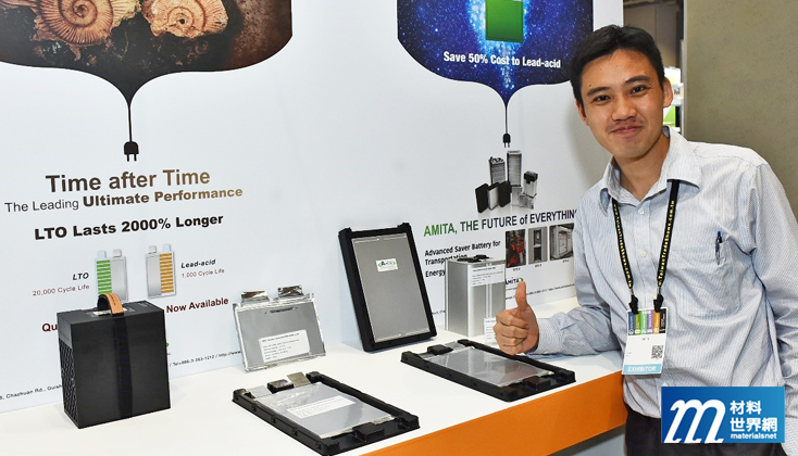 圖二、有量科技展出LTO電池與軟包電芯,其LTO與鉛酸電池相比,壽命長達20倍