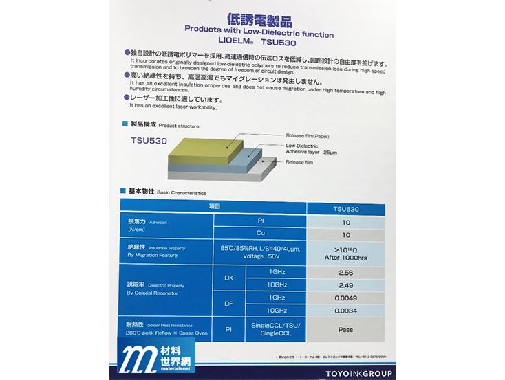 圖八、Toyo Chem低介電之軟板黏著材料,具高溫穩定性