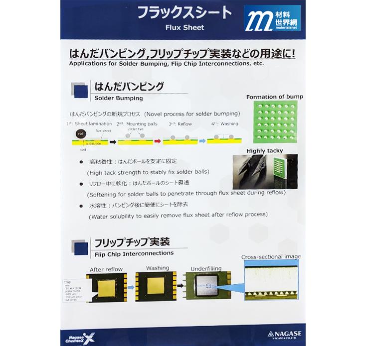 圖十九、Nagase展出的片狀材料,應用於solder bumping製程