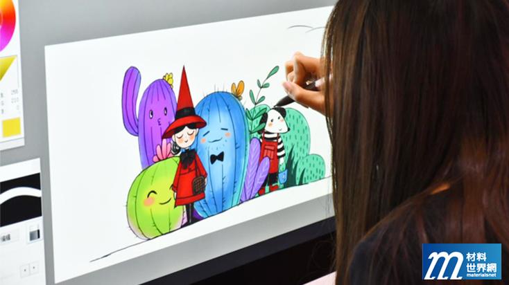 圖四、大尺寸電磁電容全貼合螢幕,在繪圖等專業應用方面更為廣泛